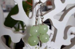 Kolczyki handmade pistacjowe z dwoma kuleczkami