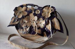 Ręcznie szyta skórzana kwiatowa torba 12