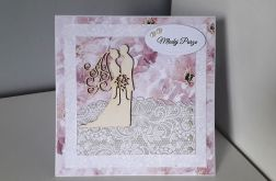 Kartka ślubn na ślub para młoda kwiaty różowe