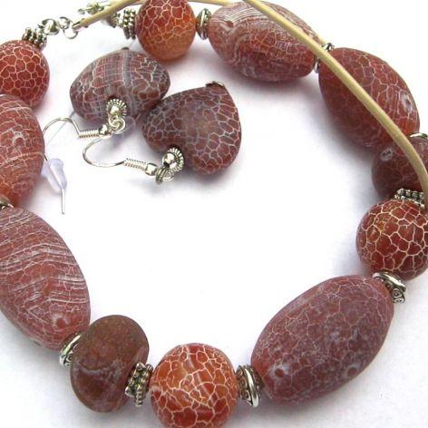Agat trawiony, matowy - oryginalny zestaw biżuterii
