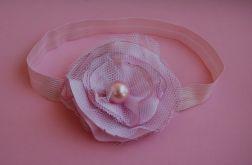Retro opaska niemowlęca w delikatnym różu i bieli