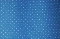 Tkanina niebieska w groszki, kropeczki - POLKA DOT