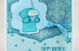 Kartka urodzinowa z misiem - uściski KU072