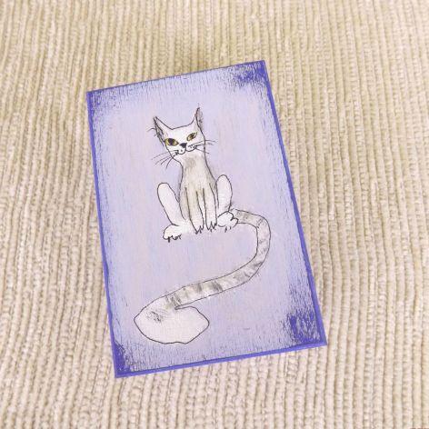 Pudełko malowane m.- Kotek w jasnoniebieskim
