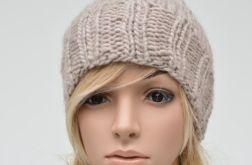 beżowa czapka szeroki ściągacz - unisex