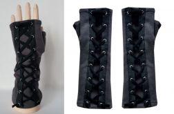 Rękawiczki szare, wiązane