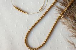 Komplet bransoletka i naszyjnik ze złotymi kuleczkami hematytu