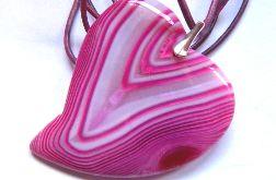 Różowo-biały agat pasiasty i srebro, serce