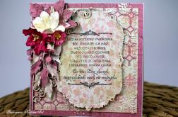 Bogato zdobiona kartka z sentencją