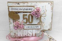 Kartka eko różowe róże w pudełku PDK 058