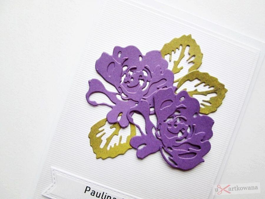Kartka ŚLUBNA - fioletowe róże
