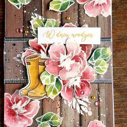 W dniu urodzin - kartka z kwiatami