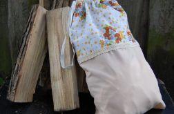 Beż & kwiaty - rustykalny woreczek