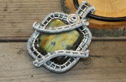 Wisior wire wrapping kwadrat z labradorytem 1