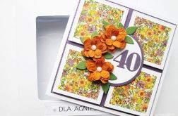 Kartka URODZINOWA rude kwiaty