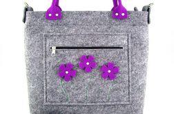 Purple flowers in pocket/strap