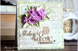 Kartka Ślubna mediowa z kwiatami