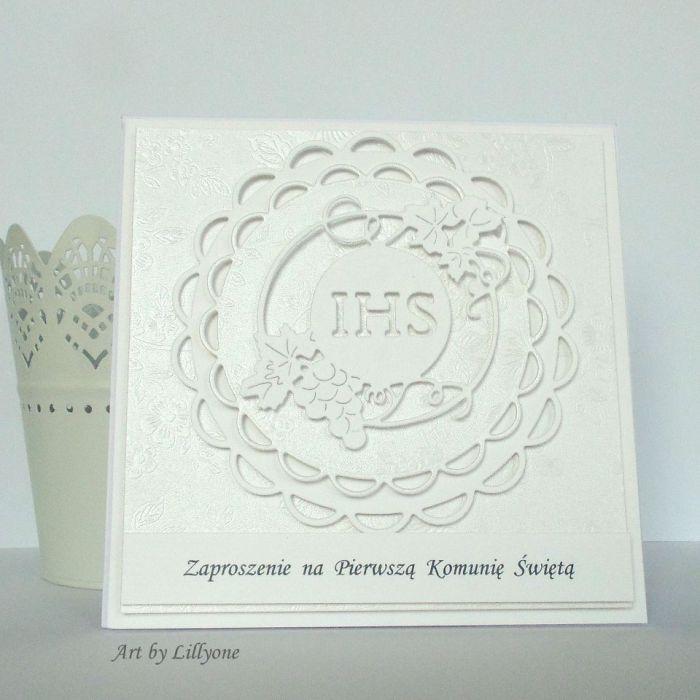 Zaproszenie na I Komunię Św. w bieli #2 - Przód zaproszenia
