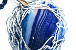Wisior z agatem, wire wrapping, unikatowy