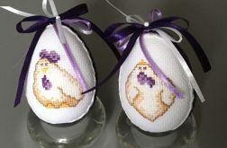Haftowane pisanki kurczaki fiolet