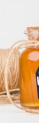 Premium Honey in Cork Bottle & Honey Dipper