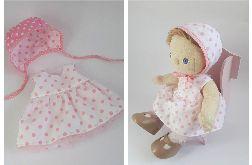 Sukienką i bononnet dla lalki DINKUM