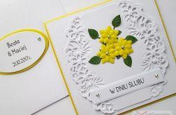 Kartka W DNIU ŚLUBU biało-żółta
