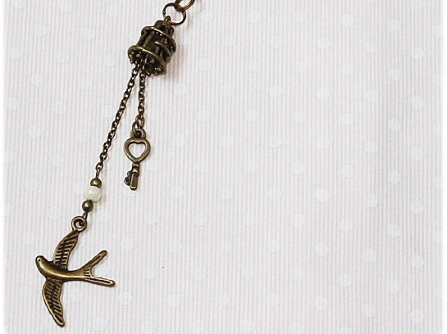 Naszyjnik vintage ptak i klatka