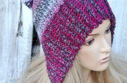 czapka   uszatka szaro / różowa