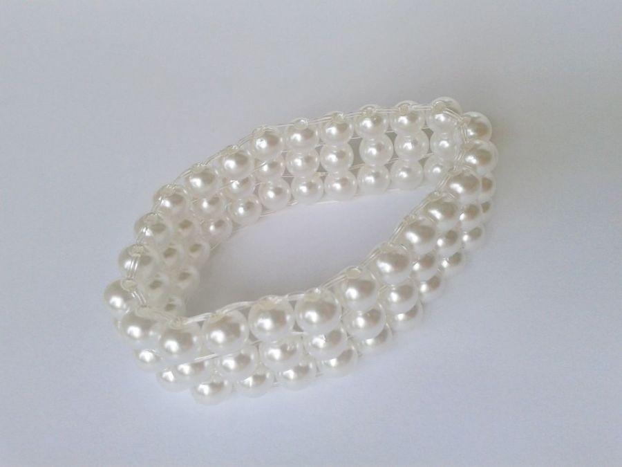 bransoletka   perłowa biała - bransoletka z perełek