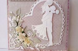 Kartka ślubna różowa A35