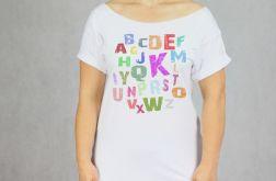 Alfabet Kolor Koszulka Oversize Biała