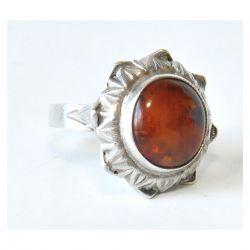 3 pierścionek vintage, naturalny bursztyn