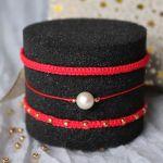 Komplet czerwonych bransoletek plecionych - Czerwone bransoletki ze sznureczków