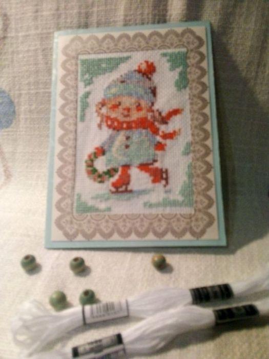 Kartka bożonarodzeniowa -Dziewczynka z wiankiem - widok kartki