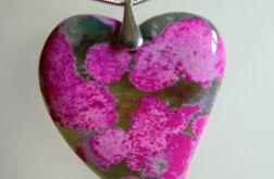 Zielono-różowe serce z agatu,wisior,srebro