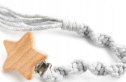 Personalizowany łańcuszek do smoczka, szara gwiazdka