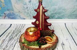 Ceramiczna choinka świecznik stroik bordo