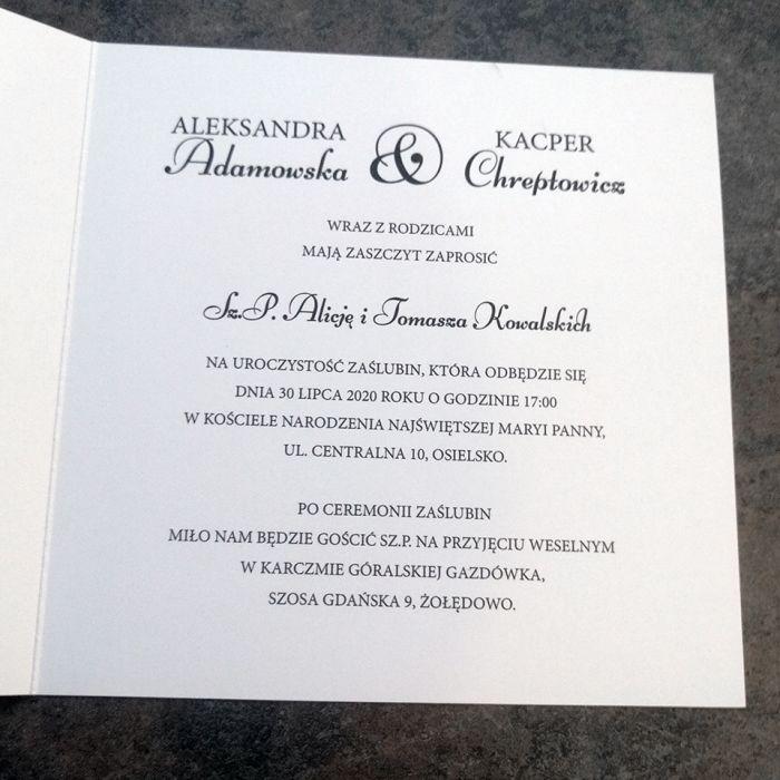 zaproszenia ślubne biało granatowe 028 - prawa strona
