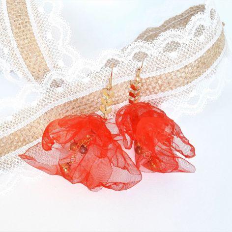 Kolczyki z kwiatami z organzy z hematytem
