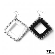 Kolczyki kwadraty black&white