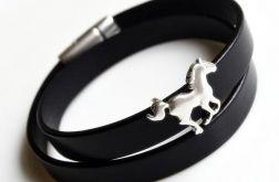 Bransoletka skórzana czarna + koń*