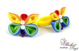 Gumka do włosów kolorowa z motylkiem