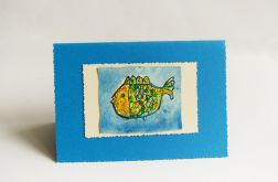 Niebieska kartka z rybką