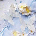 Klimatyczna kartka ślubna z motylkami -