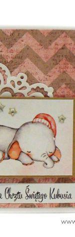 Kartka na chrzest ze słonikiem