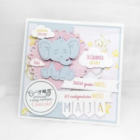 Kartka narodziny córeczki ze słoniem NRD 019