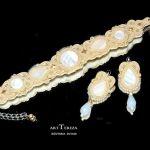 perłowy komplet, biżuteria ślubna sutasz