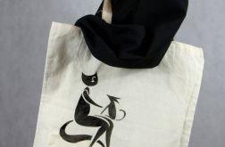 Kot i Pies, torba malowana bawełniana