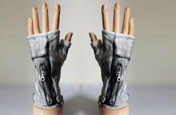 Rękawiczki mitenki biało-czarne